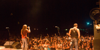 Photo of Jackyl performing at Farmer City, from backstage