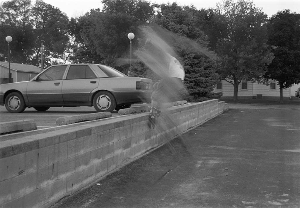 A Blurred photo of a roller blader