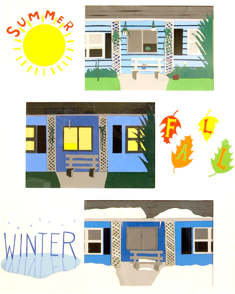 Cut paper to show different seasons