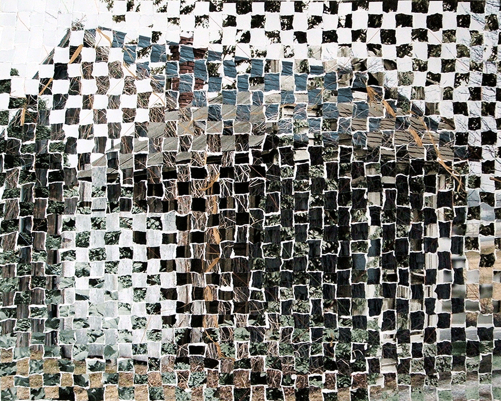 2 16x20 photos that were ripped apart and weaved together