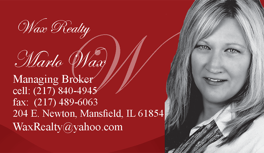 Business Card for Marlo Wax, of Wax Realty