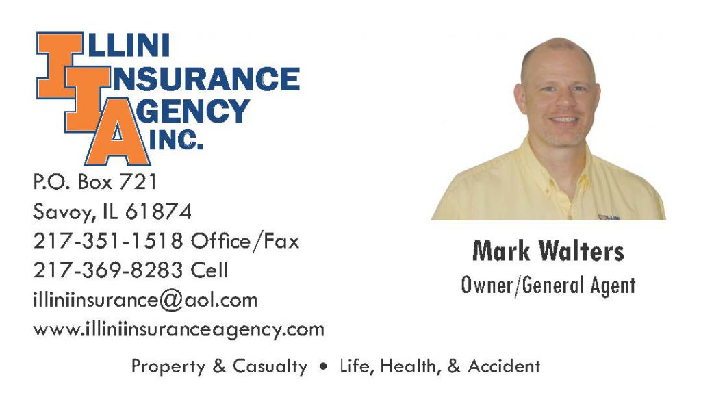 Business Card for Mark Walter so Illini Insurance
