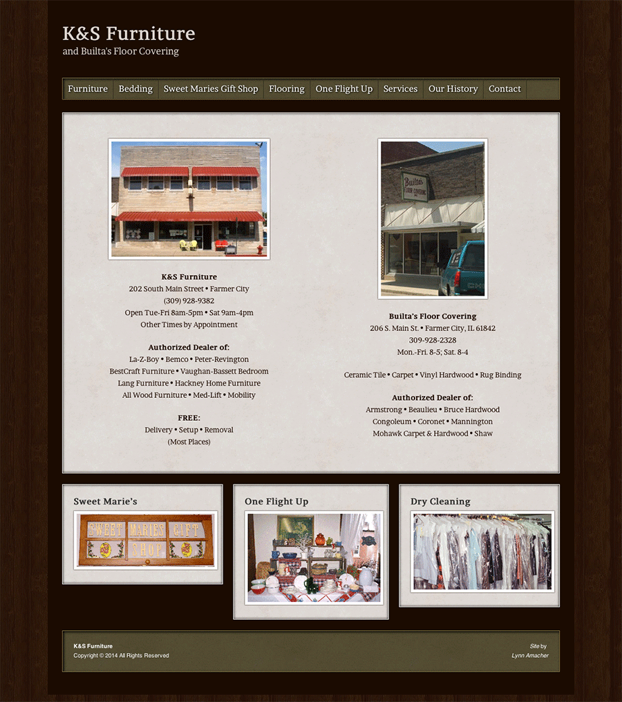 K&S Furniture and Builta's Floor Covering home page