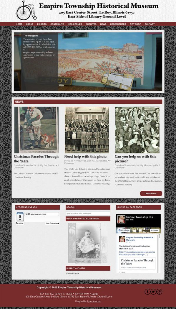 Front Page of the Empire Township Museum Website